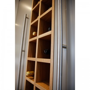 detail of stainless handles and wine rack