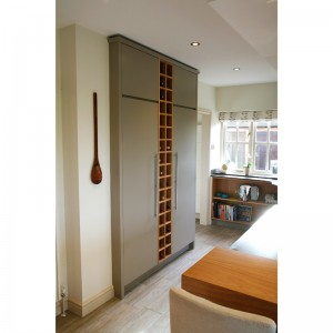 wine rack and storage cupboards