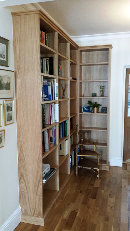 Bespoke oak book case by Mark Williamson Furniture
