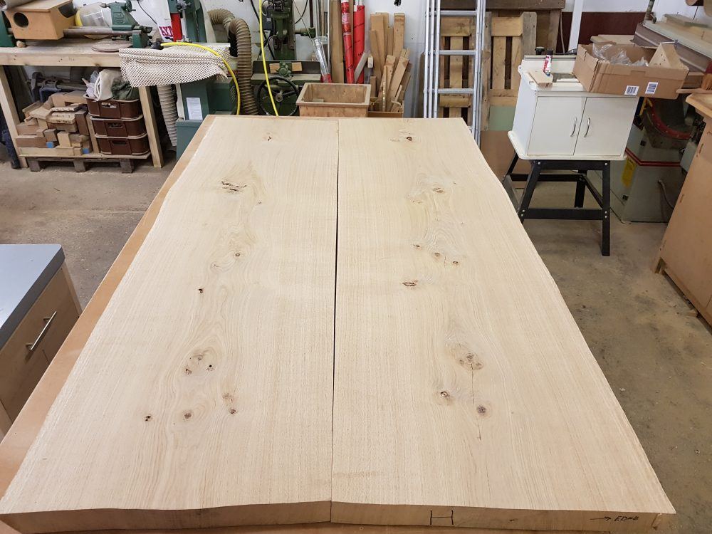 French oak 'book matched' to show off the grain and provide symmetry to the piece prior to oiling.
