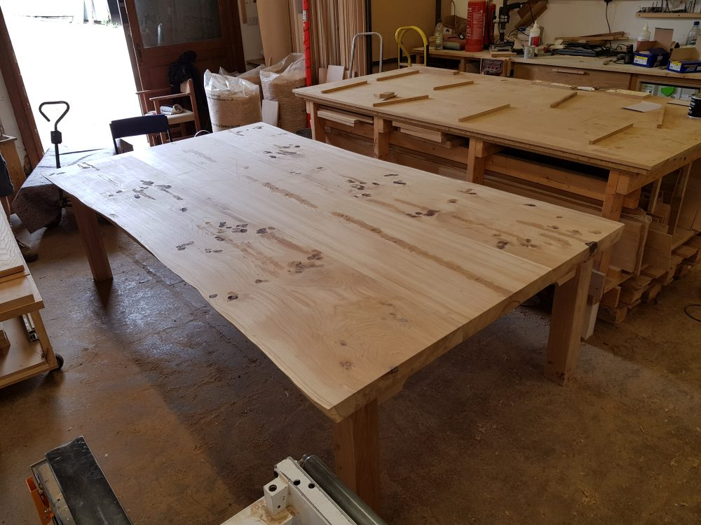 Book matched table top prior to sanding.