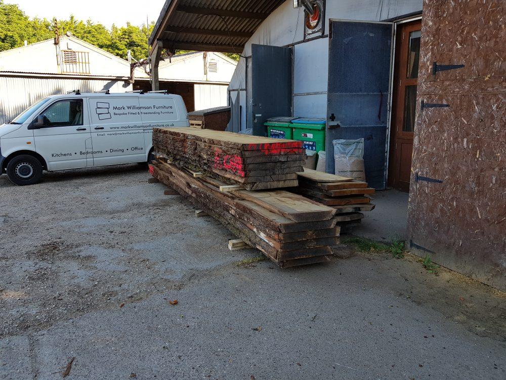 French oak delivery arrived at the workshop