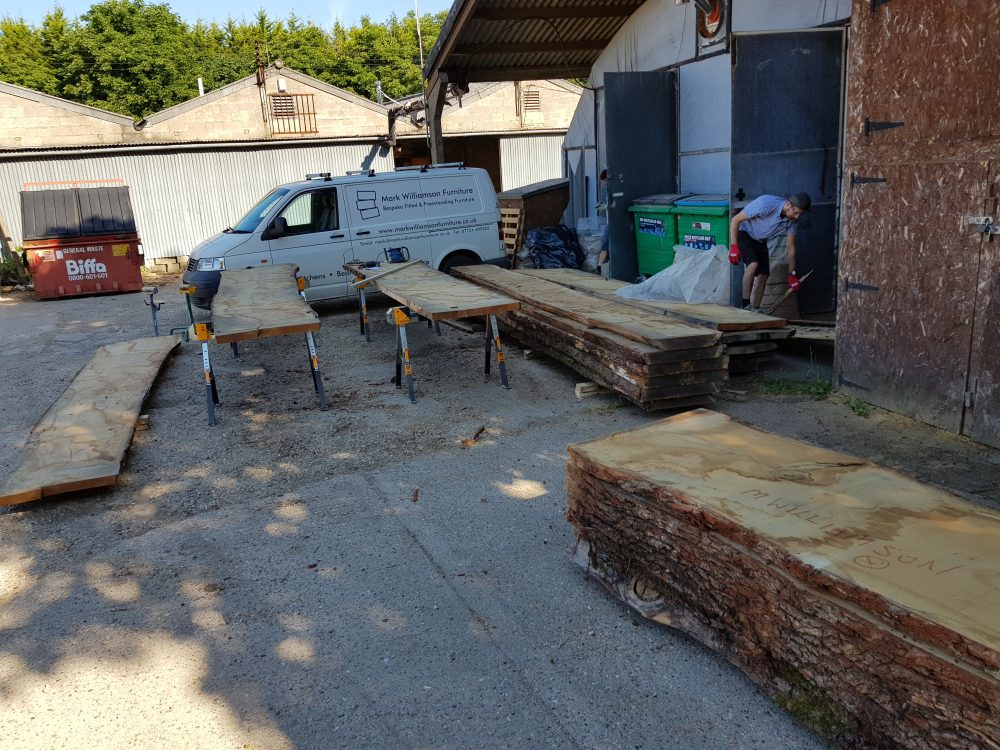 The oak outside the workshop ready to be carried inside