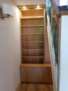 The elegant bookcase included integrated lighting
