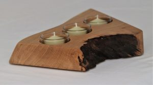Candle holder made in characterful Oak - handmade Christmas present